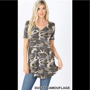 Camo Short Sleeve Vneck Top L + Xl  NWT Cute Soft